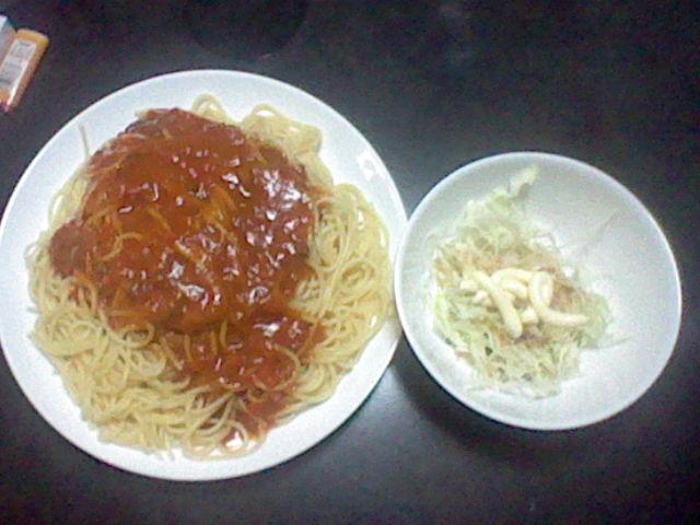 ~ スパゲッティー と サラダ (マヨネーズあえ) ~