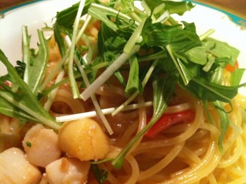 s-12-03-19B小柱と水菜のスパゲッティ明太子風味