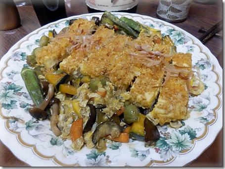 凍り豆腐カツ卵とじ
