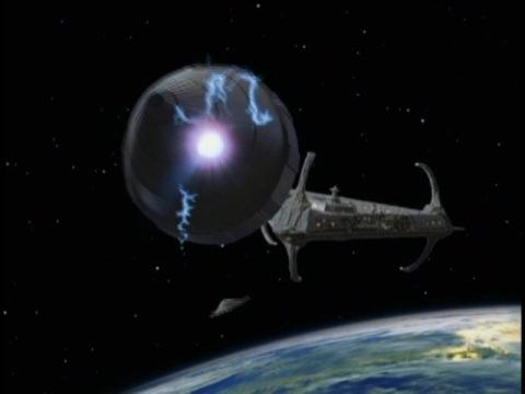 宇宙ステーション・デルタに迫るレギュラン星人の宇宙船