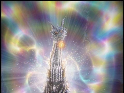 七色の光で封印されるナツノメリュウ