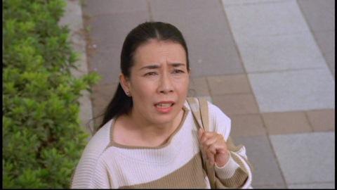 偶然看板から発進するスカイフィッシュを見た主婦(演:桜井浩子)