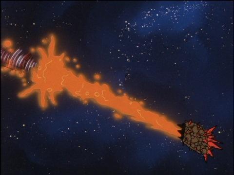 ウルトラボディースクリューでザイクロンに突っ込むウルトラマンジョーニアス
