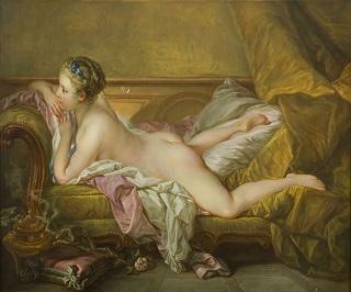 陶板画<br />「横たわる若い女性」