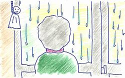 雨で美容院に行けないきよこちゃん