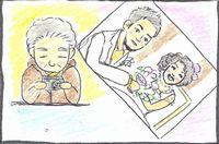 小次郎とナースの写真を見るきよこちゃん