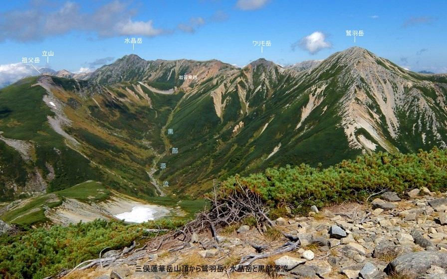 黒部源流と鷲羽岳・ワリモ岳・水晶岳(三俣蓮華岳山頂)