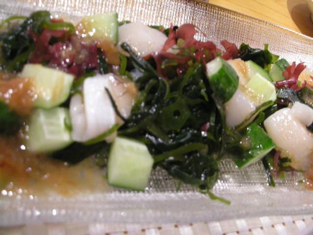貝柱の梅肉ソース