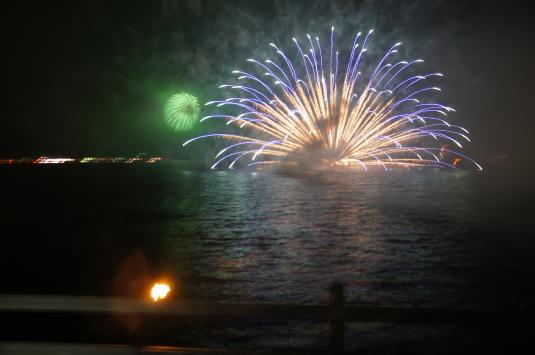 山中湖報湖祭 水中花火