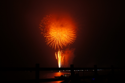 山中湖報湖祭 オレンジ花火