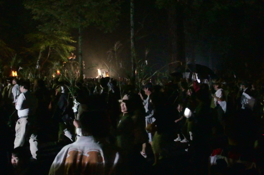 すすき祭り すすきを持つ観客