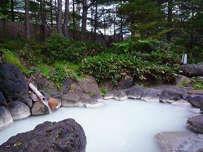 奥日光小西ホテルの白濁した硫黄泉露天風呂