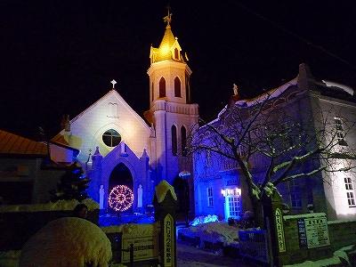 ライトアップされた元町カトリック教会
