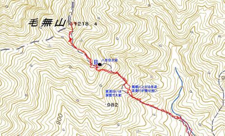 毛無山登山道上部の地図