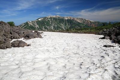 雪渓と薬師岳