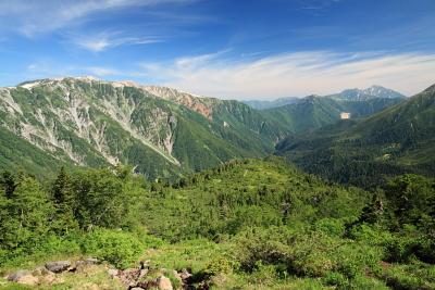 奥スイス庭園からの薬師岳