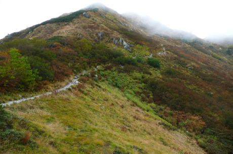 弓折岳山腹のトラバース道