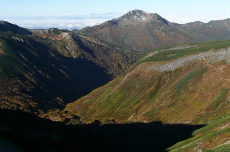 鷲羽岳山頂から見る黒部五郎岳