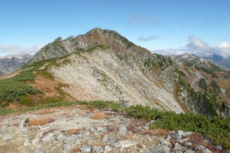 水晶岳への稜線上ルート