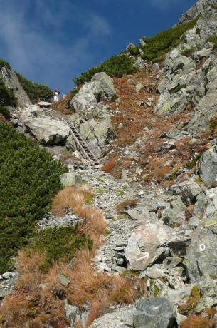 岩峰への取り付き部