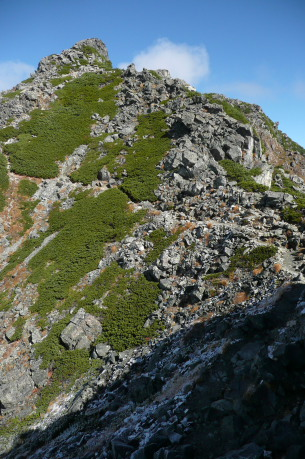 水晶岳山頂へと続く道