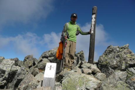 水晶岳山頂記念写真