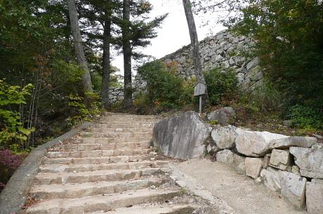 登山道の階段