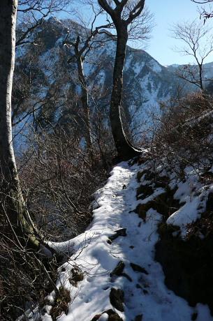 雪に覆われ始めた登山道