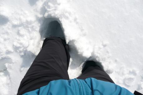 膝上までの積雪