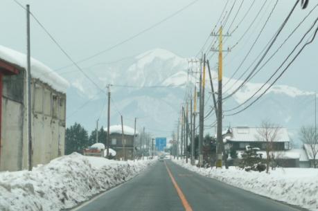 道路正面の下蒜山