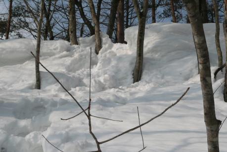 雪庇のある稜線