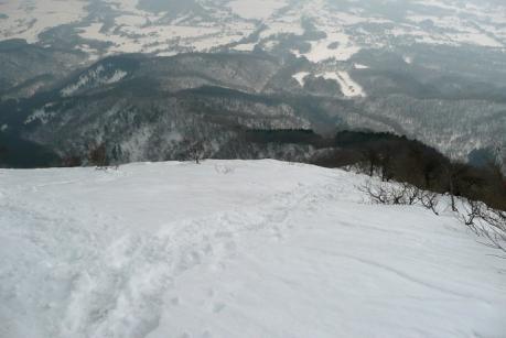急斜面の下山道
