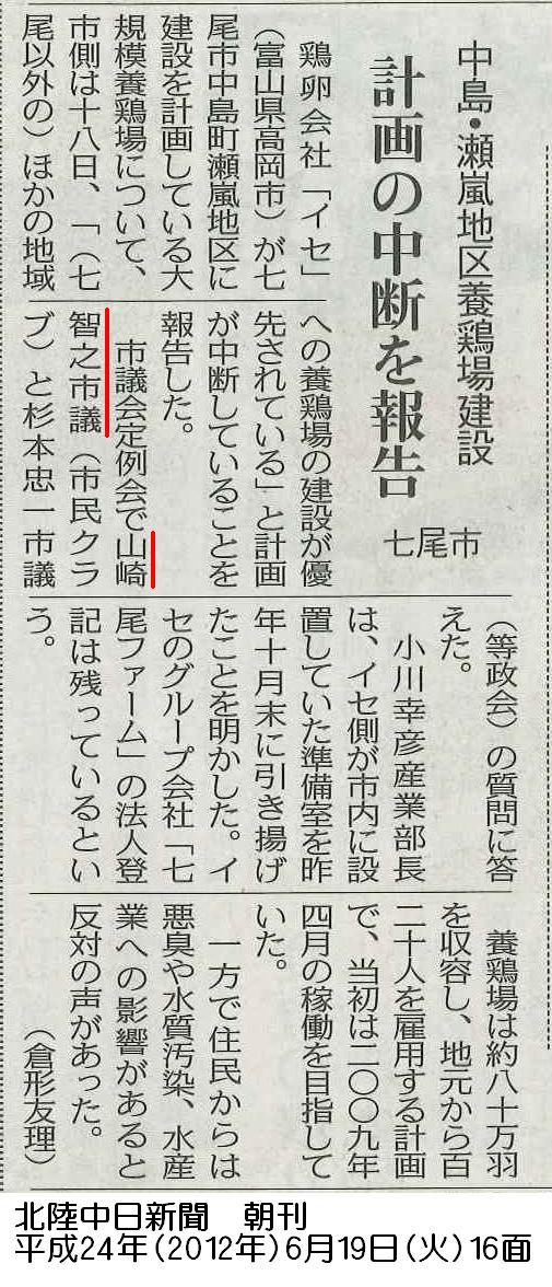 平成24年6月19日(火)北陸中日新聞 朝刊 16面