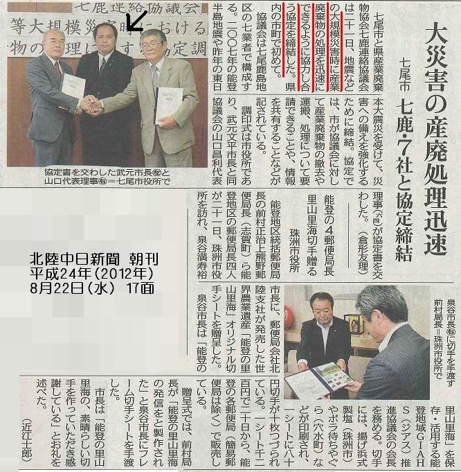 平成24年8月22日(水) 北陸中日新聞 朝刊 17面