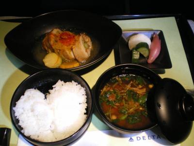 ハワイ2012.7機内夕食メイン