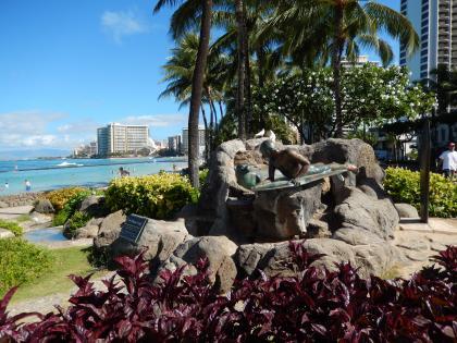 ハワイ2013.7ワイキキビーチサーフィン像2