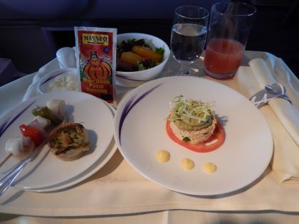 ハワイ2013.7チャイナエアライン機内食1食目前菜