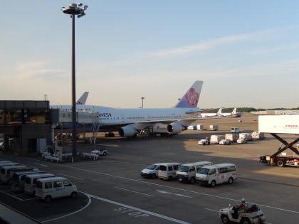 ハワイ2013.7チャイナエアライン機成田到着2