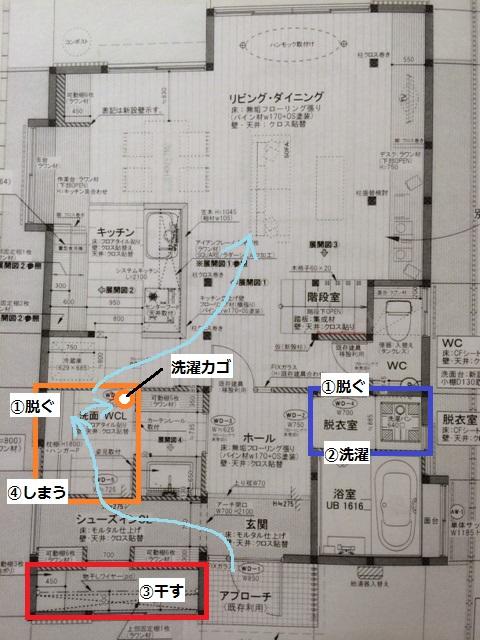 間取りプランE-1洗濯動線2