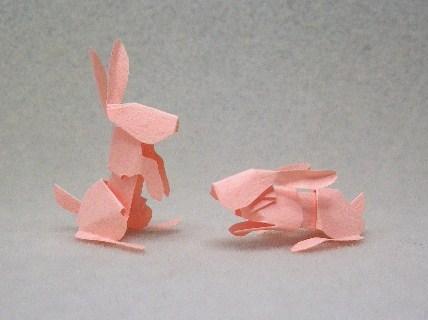 うさぎ(切り折り紙)