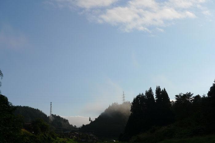 朝霧 晴れ上がり ひだたかやま