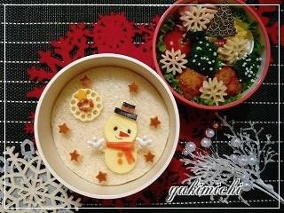 ぺたりと雪だるまのお弁当♪