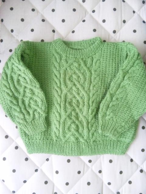 グリーン編み物