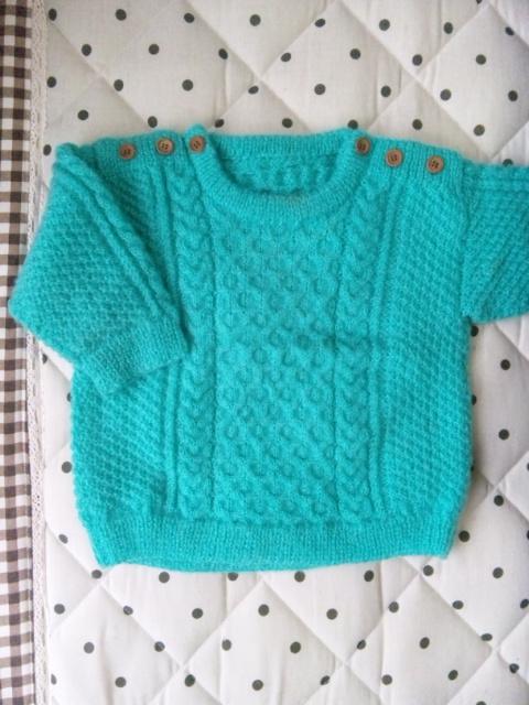 ブルー編み物