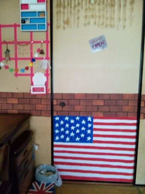 部屋アメリカ国旗