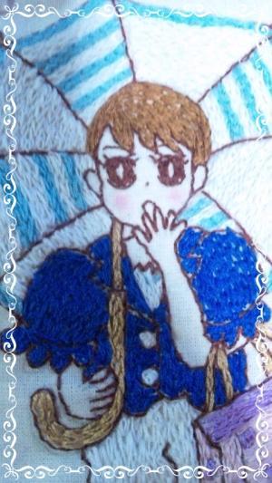 刺繍の縮小日傘
