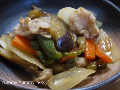 豚肉と夏野菜の焼き肉のたれ酢炒め♪