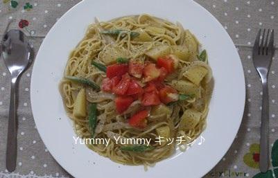 じゃがいもとインゲン豆のアンチョビクリームスパゲッティ☆トマト添え♪