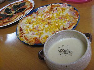 ビシソワーズとピザ。