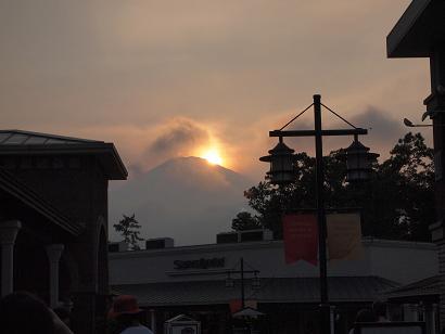 富士山に沈む夕日 アウトレットより